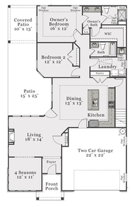 Bungalow First Floor. 1,716sf New Home