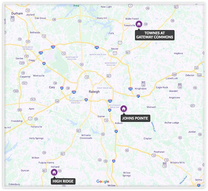 raleigh nc new home communities map